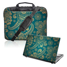 "TaylorHe 15.6"" Laptop Shoulder Bag Handles Strap & Skin Bundle Green Paisley"