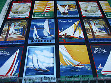 3 Yards Quilt Cotton Fabric - Windham Sail Away Nautical Regatta Patch on Black