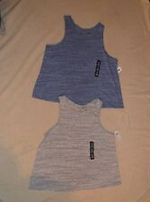 2 Women's  SZ XXL sleeveless Gap tops blue + gray cotton blend round neck