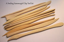 10 Wood Clay Sculpting Tools - Texture Design Cut Porcelain PMC Polymer Ceramic