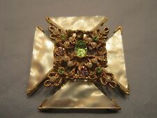 BROOCH B.S.K. MOTHER OF PEARL ABALONE GOLD TONE METAL JEWELRY DIAMANTE STONES