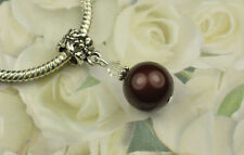 Maroon Crystal Pearl Dangle Charm Bead European Style w Swarovski Elements