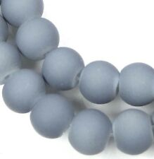 8mm Matte Frosted Neon Rubber Glass Round Beads -  Gray 16""