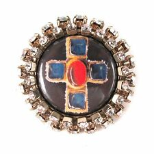 CHANEL PIN BROOCH CRYSTAL CROSS GRIPOIX - 2008 - 08P GOLD CC LOGO CHARM