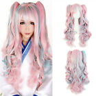 Lolita Long Curly Clip-In Ponytails Cosplay Party Wigs Wig Pink Blue Mixed Ombre