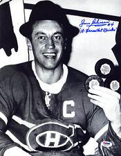 Jean Beliveau SIGNED 11x14 Photo Canadiens Habs +Hat Tricks PSA/DNA AUTOGRAPHED