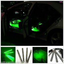 12 LED 4Pcs Car SUV Footwell Decorative Atmosphere Light Green Neon Lamp Strips