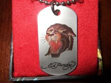 NIB Ed Hardy PANTHER Black Tattoo Chain Necklace Pendant Stainless Steel DOG TAG