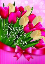 """Happy Mothers Day Tulip Flower House Flag Large 40"""" x 28"""""""