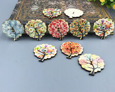20PCS Mix Tree Shape Wooden Sewing buttons scrapbooking craft DIY 30mm