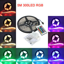 5M Tiras 5050 RGB Waterproof 300 LED Strip Light 12V DC + 24 Key IR Controller
