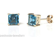 9ct Gold London Blue Topaz Square Stud earrings Boxed Made in UK