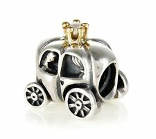 AUTHENTIC PANDORA #790598P ROYAL CARRIAGE BEAD 2 TONE SILVER GOLD PEARL PRINCESS