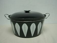 MID CENTURY CATHRINEHOLM CATHRINE HOLM BLACK w WHITE LOTUS HUGE 9 QT STOCK POT