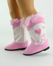 """I Heart Boots"" in Lt. Pink -  For American Girl (boy) & most 18"" dolls"