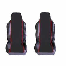 SKODA RAPID SPACEBACK 13-ON 1+1 FRONT SEAT COVERS BLACK RED PIPING