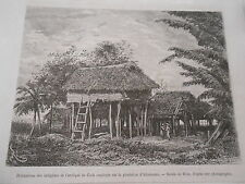 Pacifique Pacifiai Habitation des indigènes de l'archipel de Cook Gravure 1876