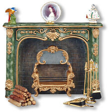 Dollhouse Miniature Decorated Green Marble Fireplace