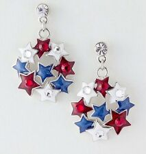 PATRIOTIC 4TH OF JULY RED WHITE & BLUE STAR DANGLE PIERCED EARRINGS