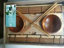 Oriental Wooden Serving Set, Chopsticks Dinner Set Bowls, serving tray - 9 PIECE