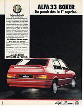 PUBLICITE ADVERTISING 074  1986  ALFA ROMEO  ALFA 33 BOXER