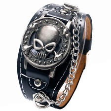 Fashion Cool Skull Men Women Quartz Wrist Watch Leather Band Strap Chain