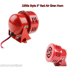 1950s Style 12V Motor Driven Air Raid Siren Horn Fire Alarm Car Truck Loud Red