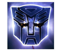 Glowing LED Transformers AUTOBOTS Car Emblem - WHITE vehicle auto badge hood