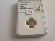 1887 Great Britain 3P Young Head Ngc Au 55