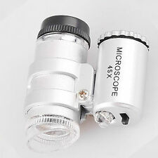 #2017 Mini 45X 2 LED Pocket Microscope Mikroskop Magnifier Loupe