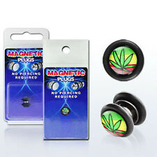 Fake Illusion Piercing Magnetic Cheaters Leaf Flag Ear Pair Earrings Gauge Plug