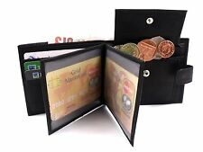 MENS HIGH QUALITY LUXURY  BLACK LEATHER WALLET CREDIT CARD HOLDER ID PHOTO 2
