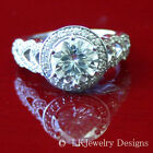 2.80 CT FOREVER BRILLIANT MOISSANITE ROUND YELLOW GOLD PAVE ENGAGEMENT RING