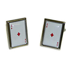 White & Red Ace Of Diamonds Playing Card Cufflinks With Gift Pouch Deluxe New