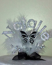 BLK BUTTERFLY BIRTHDAY CAKE TOP/TOPPER / ANY NAME /18th/21st/30th/40th/freepost
