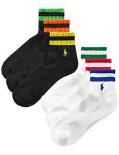 POLO RALPH LAUREN Classic Sport Quarter Socks Black & White 6 Pairs 10-13