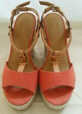 COACH LEAH Shoes Size 7B Wedge Heels, A6052, Platform Open-Toe, Salmon Rare