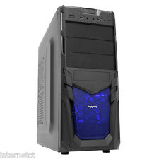 CIT VENOM ATX mATX mITX BLACK BLUE LED COMPUTER CASE WITH MESH FRONT PANEL