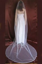 Bridal Veil Diamond (Off)White 1 Tier Cathedral Length With Scattered Rhinestone