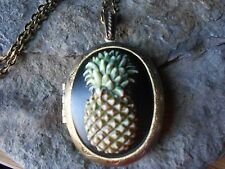 HAND PAINTED PINEAPPLE CAMEO LOCKET -  ANTIQUE BRONZE, QUALITY, TROPICAL