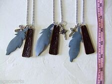 New Handmade Leather Feather Pendants & Cross Necklace Metal Chain 3 in a lot