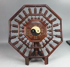 Vintage Bead Chinese Abacus Lotus Flower Old Dark Wood gossip shape