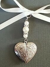 Wedding Bouquet Charm Heart Shaped Embossed Silver Locket Pendant Ivory Pearls