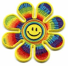 SMILEY FACE in tie dye daisy IRON-ON PATCH **FREE SHIPPING** happy flower peace