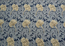 William Morris Curtain Fabric 'Tulip' 3.1 METRES (310cm) Indigo/Linen  Cotton