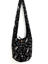 MEN GECKO HEART HOBO LIZARD SHOULDER BAG SLING GYPSY CROSSBODY THAI YAAM BLACK