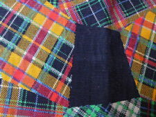 "Tartan Printed Needlecord - ""Patchwork"" Pattern - Very Unusual - Blue Green"