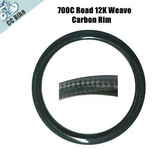 700C 50mm Clincher Carbon Rims 12K Rim for Road Bike with Basalt Brake Surface
