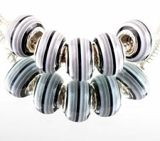 5 x Murano Style Charms Beads Stripes Jewellery Making Crafts