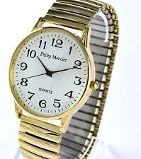 Philip Mercier Gents Easy Read Big Number Goldtone Stainless Steel Stretch Strap